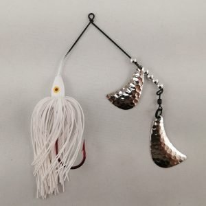 white spinnerbait with silver hatchet blades