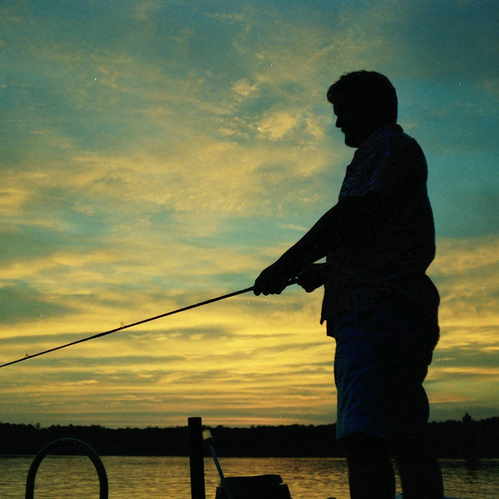Fisherman at night with the beautiful sunset and sky