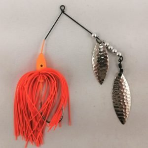 Orange spinnerbait with double willow blades