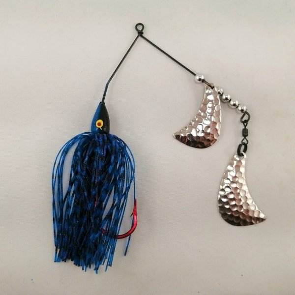 Black and blue spinnerbait with silver hatchet blades