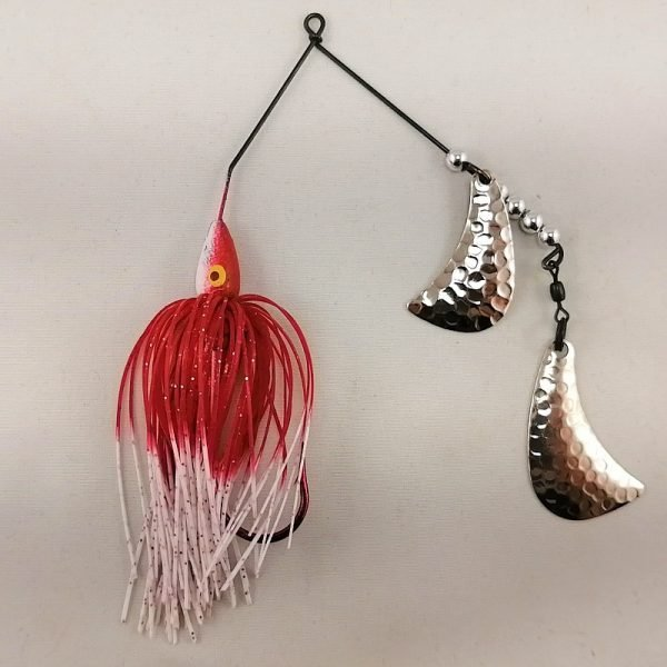 red and white spinnerbait with silver hatchet blades