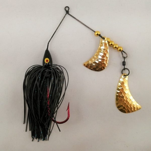 black spinnerbait with brass hatchet blades