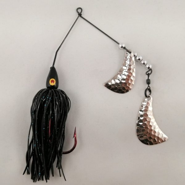 black spinnerbait with silver hatchet blades