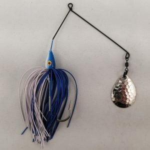 Blue and white spinnerbait with a single Colorado blade