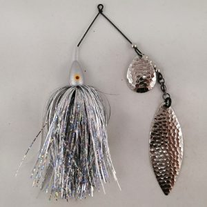 Silver spinnerbait with flash skirting