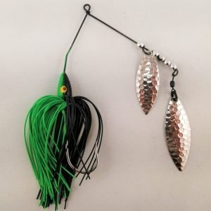 Black and lime spinnerbait with double willow blades