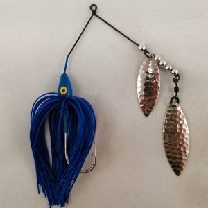 Blue spinnerbait with double willow blades