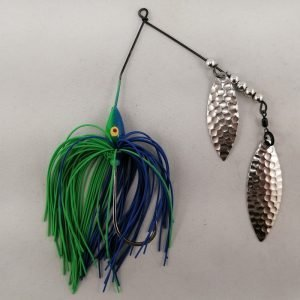 Blue and lime spinnerbait with double willow blades