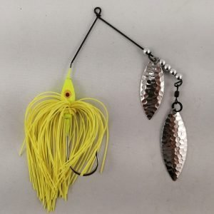 Chartreuse spinnerbait with double willow blades