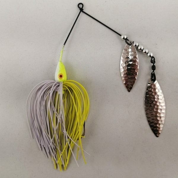 Chartreuse and white spinnerbait with double willow blades