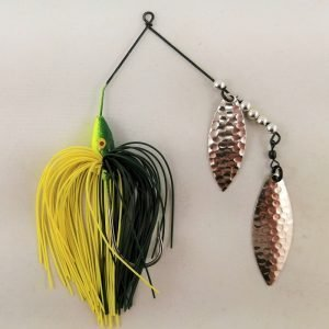 Dark green and chartreuse spinnerbait with double willow blades
