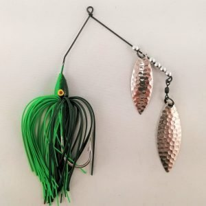 Dark Green and lime spinnerbait with double willow blades
