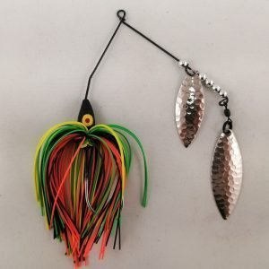 Perch pattern spinnerbait with double willow blades
