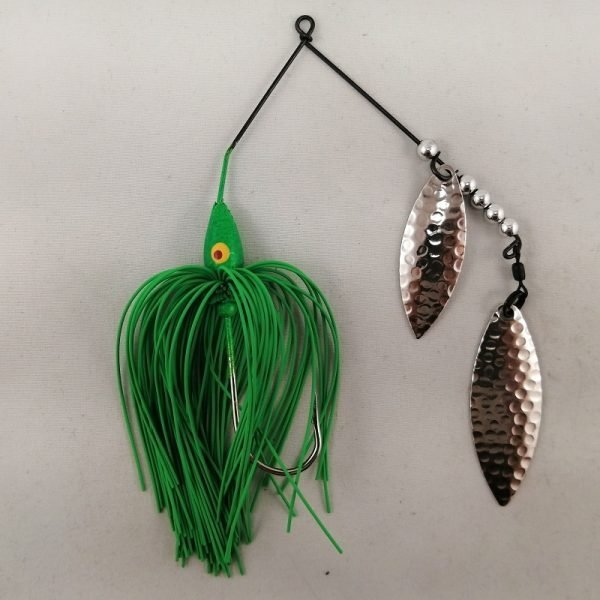 Lime spinnerbait with double willow blades