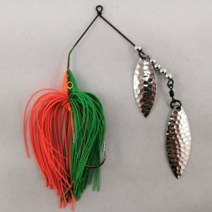 Lime and orange spinnerbait with double willow blades