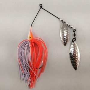 Orange and white spinnerbait with double willow blades