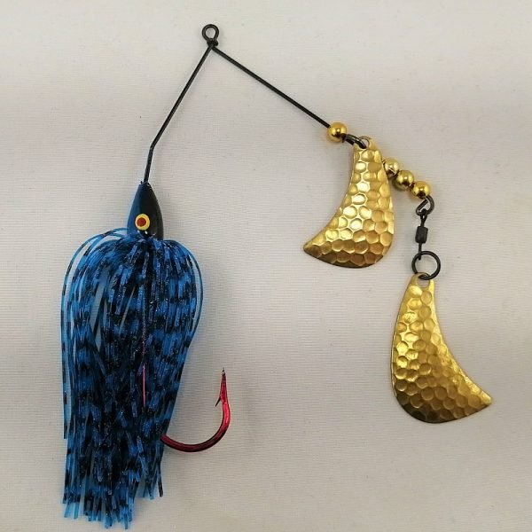 Black and blue spinnerbait with brass hatchet blades