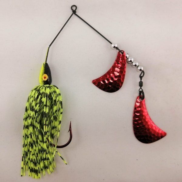 Black and Chartreuse spinnerbait with red hatchet blades