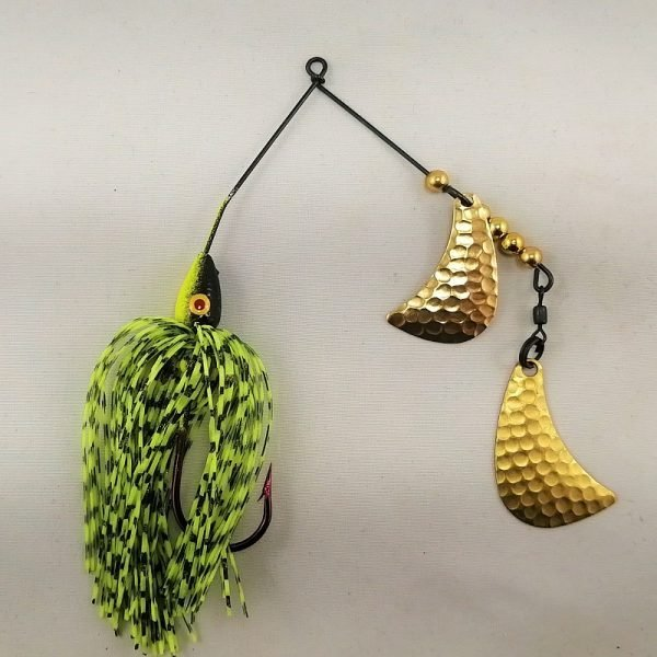 Black and Chartreuse spinnerbait with brass hatchet blades