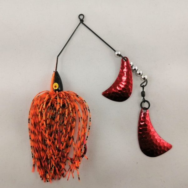 Black and Orange spinnerbait with red hatchet blades