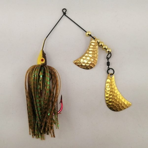 Brown and yellow spinnerbait with brass hatchet blades