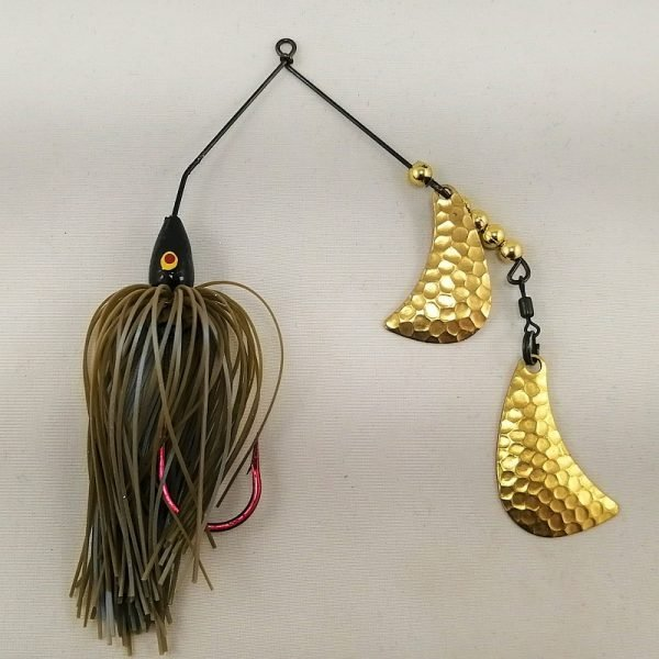 Craw colored spinnerbait with brass hatchet blades