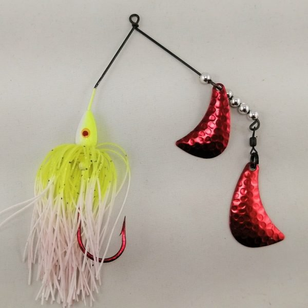Chartreuse and white spinnerbait with red hatchet blades