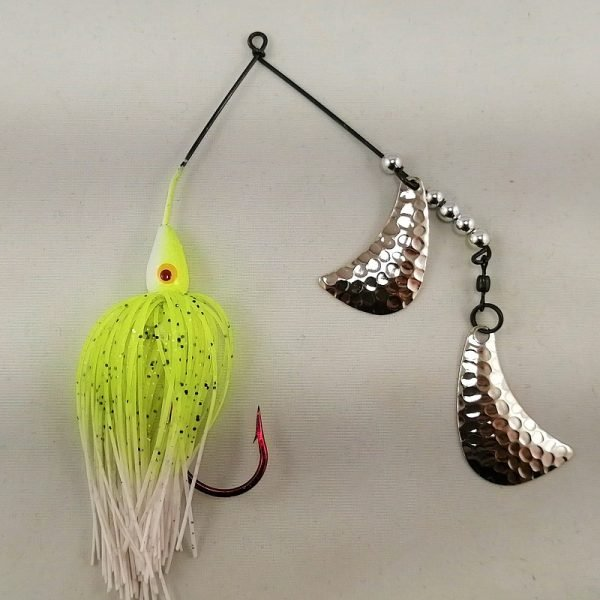 Chartreuse and white spinnerbait with silver hatchet blades