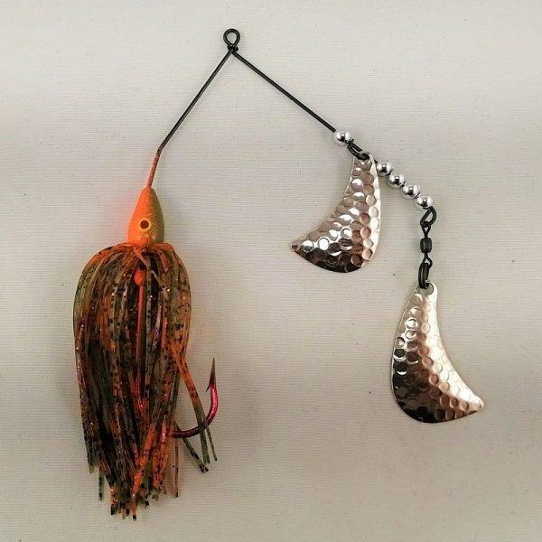 Orange and Pumpkin spinnerbait with silver hatchet blades