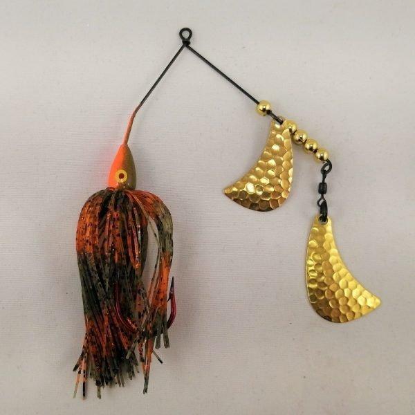 Orange and Pumpkin spinnerbait with brass hatchet blades