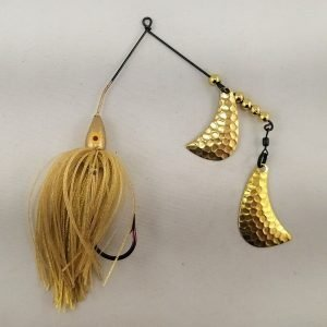 Gold spinnerbait with brass hatchet blades