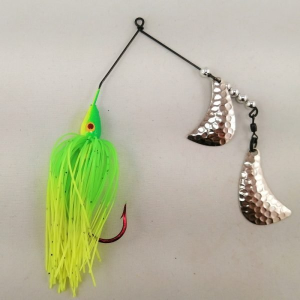Lime and chartreuse spinnerbait with silver hatchet blades