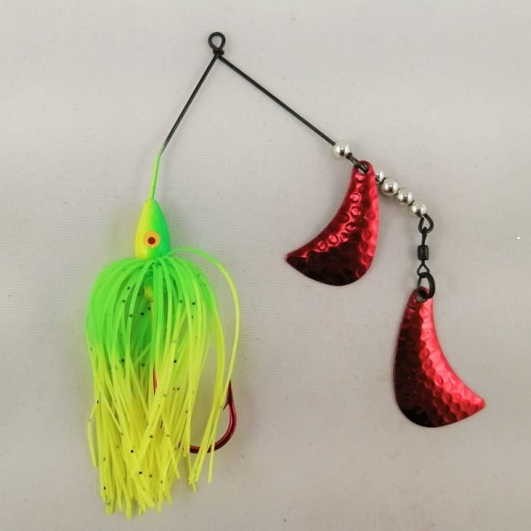 Lime and chartreuse spinnerbait with red hatchet blades