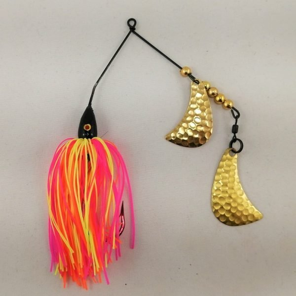 neon colored spinnerbait with brass hatchet blades