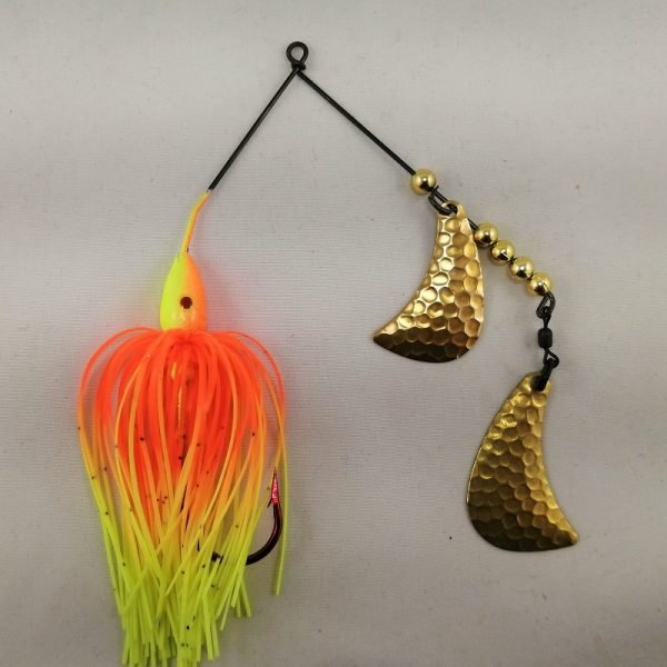 Orange and chartreuse spinnerbait with brass hatchet blades
