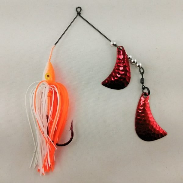 Orange and white spinnerbait with red hatchet blades