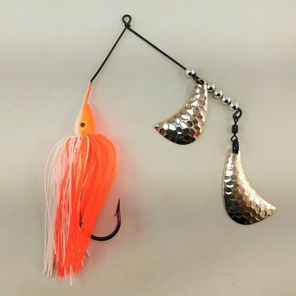 Orange and white spinnerbait with silver hatchet blades