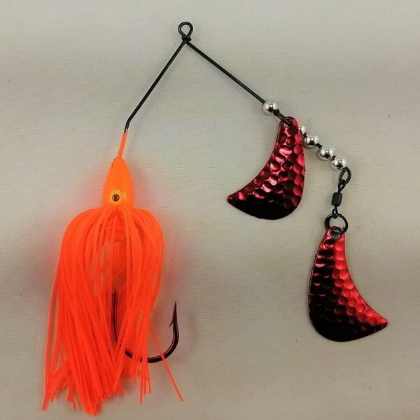 Orange spinnerbait with red hatchet blades