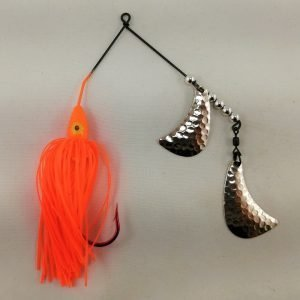 Orange spinnerbait with silver hatchet blades