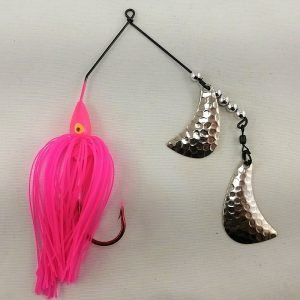 Pink spinnerbait with silver hatchet blades