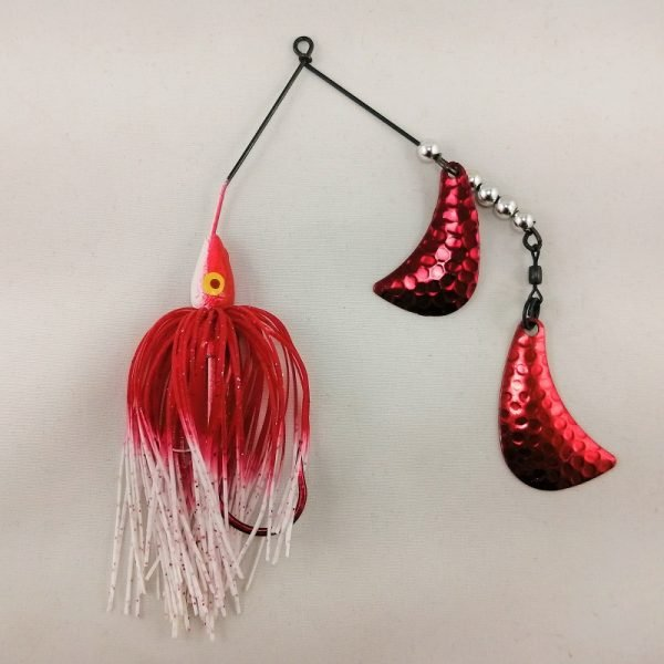 red and white spinnerbait with red hatchet blades