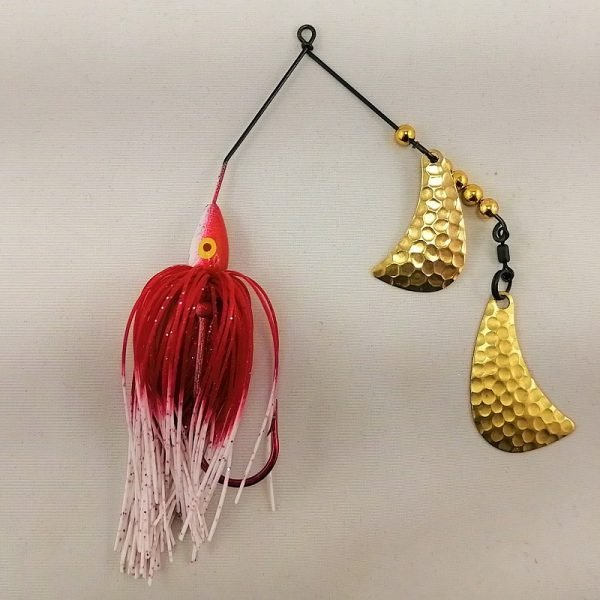 red and white spinnerbait with brass hatchet blades