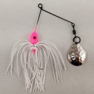 Small pink and white spinnerbait with a Colorado blade