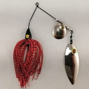 red and black spinnerbait with colorado and willow fishhead blades