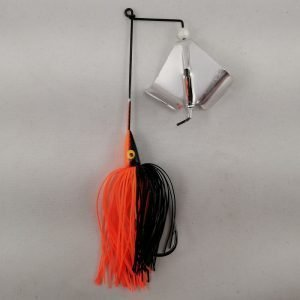 Black and orange buzzbait with silver blades