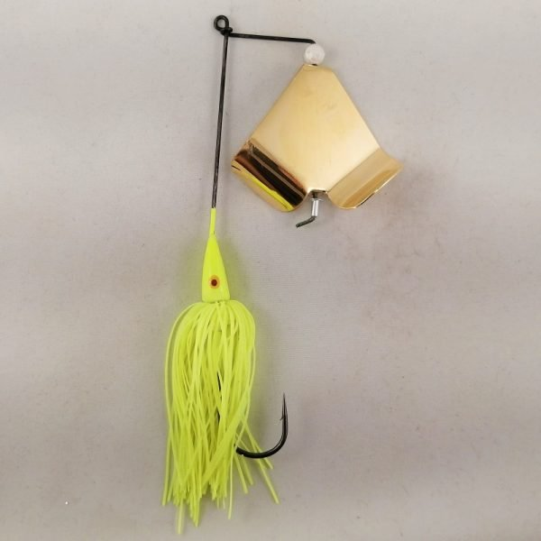 Chartreuse buzzbait with gold blades