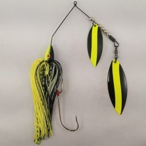 Black and chartreuse large spinnerbait with double willow blades