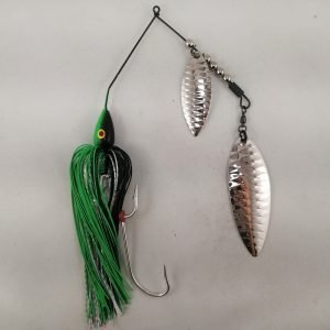 Black and lime large spinnerbait with double willow blades