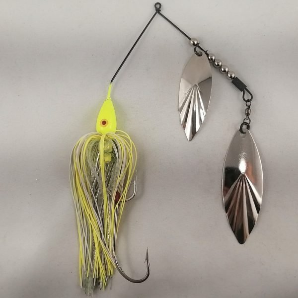 Chartreuse large spinnerbait with double willow blades