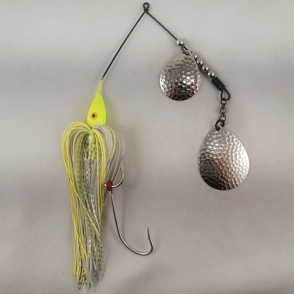 Chartreuse large spinnerbait with double Colorado blades